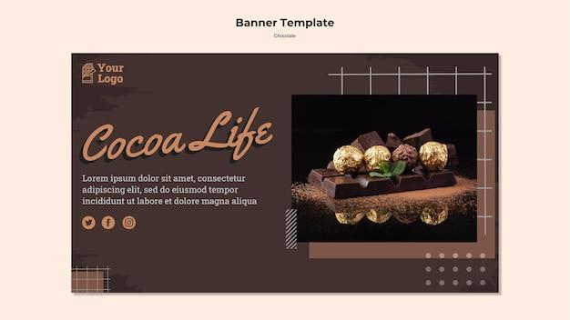 Баннер шаблона магазина шоколада Бесплатные Psd