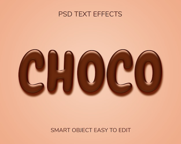 Chocolate text style effect Premium Psd
