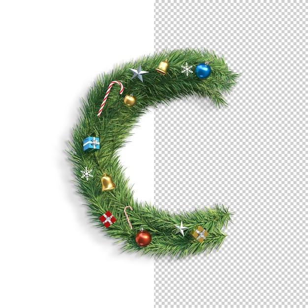 Рождественский алфавит буква c Premium Psd