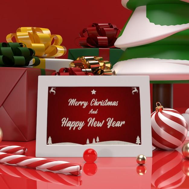 크리스마스와 새해 축하 초대 선물 카드 모형 프리미엄 PSD 파일