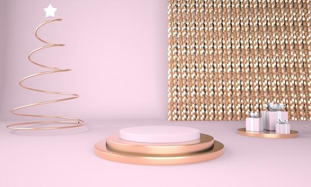 クリスマスツリーと製品表示3dレンダリングのステージとクリスマスの背景 Premium Psd