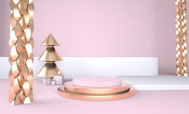 크리스마스 트리와 제품 디스플레이 3d 렌더링을위한 무대와 크리스마스 배경 프리미엄 PSD 파일