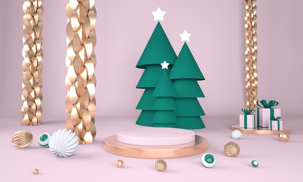 Новогодний фон с елкой и сценой для отображения продукта в 3d-рендеринге Premium Psd