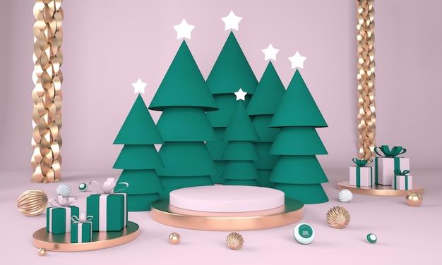 クリスマスツリーと3dレンダリングで製品を表示するためのステージとクリスマスの背景 Premium Psd