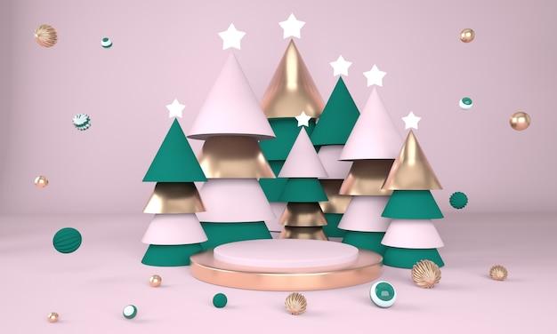 크리스마스 트리와 3d 렌더링에서 제품 표시를위한 무대와 크리스마스 배경 프리미엄 PSD 파일
