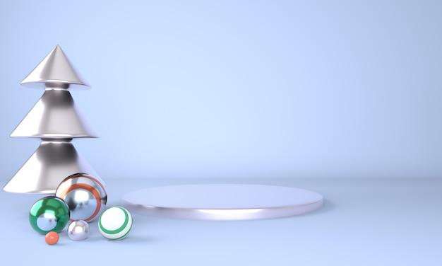 제품 표시를위한 크리스마스 트리와 무대와 크리스마스 배경 프리미엄 PSD 파일