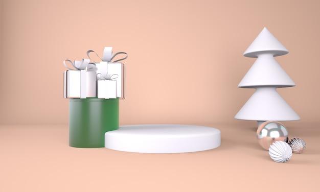 제품 표시를위한 크리스마스 트리 및 무대와 크리스마스 배경 프리미엄 PSD 파일