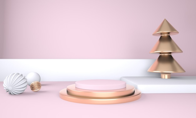 Christmas background with christmas tree and stage for product display 3d rendering Premium Psd