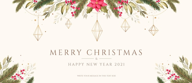 Christmas background with watercolor and golden ornaments Free Psd
