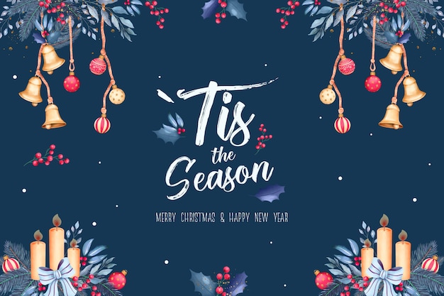 Christmas background with watercolor ornaments and nature Free Psd