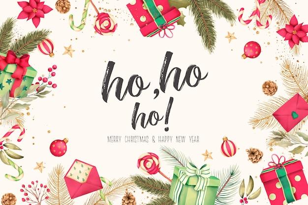 水彩画のプレゼントや装飾とクリスマスの背景 無料 Psd