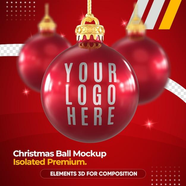 3dレンダリングモックアップのクリスマスボールモックアップ Premium Psd