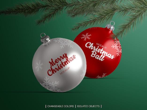 크리스마스 공 장식 이랑 나뭇 가지와 격리 프리미엄 PSD 파일