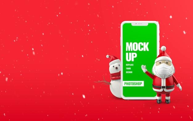Рождественский баннер снеговик телефон макет Premium Psd