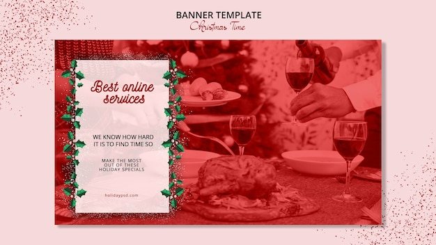 Christmas banner template concept Free Psd