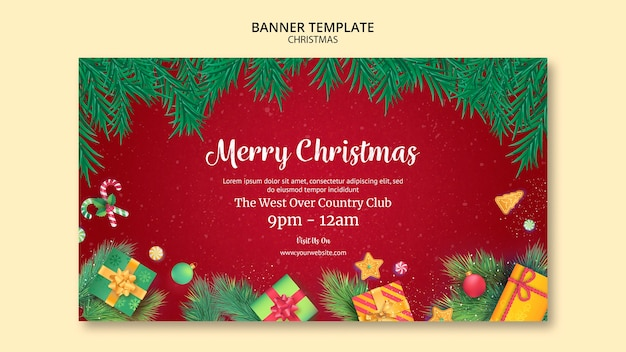 Christmas banner template style Free Psd