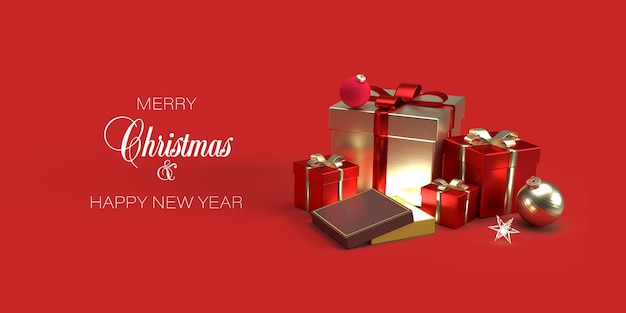 Christmas banner template with gifts, christmas toys on red background Premium Psd
