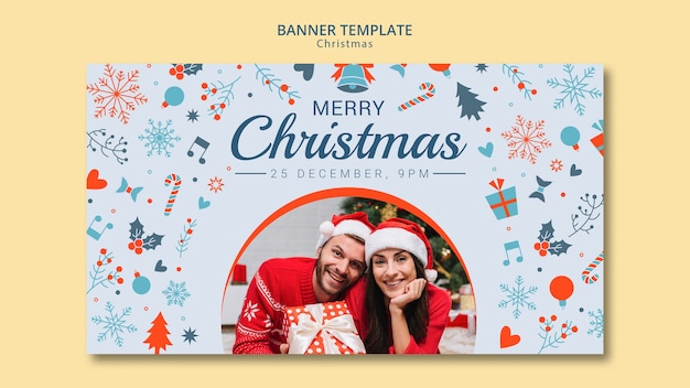 Christmas banner template with photo Free Psd