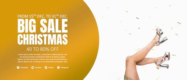 Christmas banner template Premium Psd