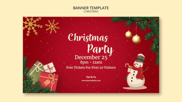 Christmas banner template Free Psd