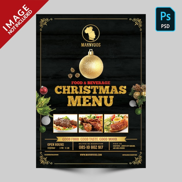 Christmas book  menu front side template Premium Psd