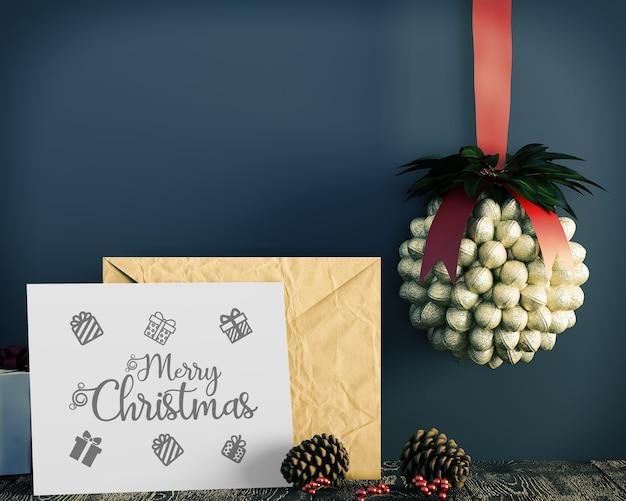 Christmas card decoration simple and gentle christmas mockup Premium Psd