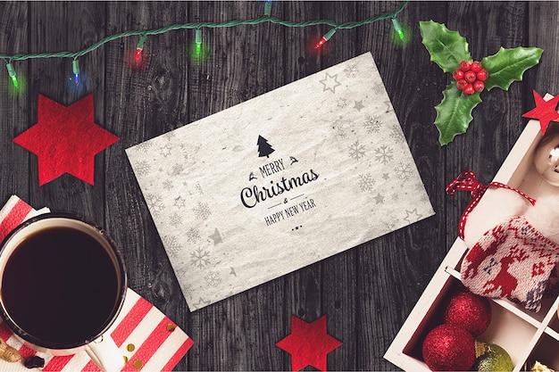 Дизайн рождественской открытки Premium Psd