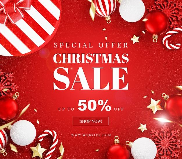 Макет рождественской открытки с украшением Premium Psd