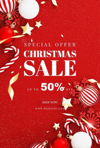 装飾が施されたクリスマスカードのモックアップ Premium Psd