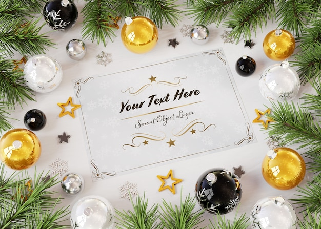Christmas card mockup on wooden surface with christmas ornaments Premium Psd