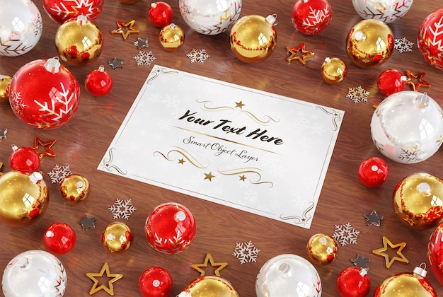 Christmas card on wooden surface with christmas ornaments mockup Premium Psd
