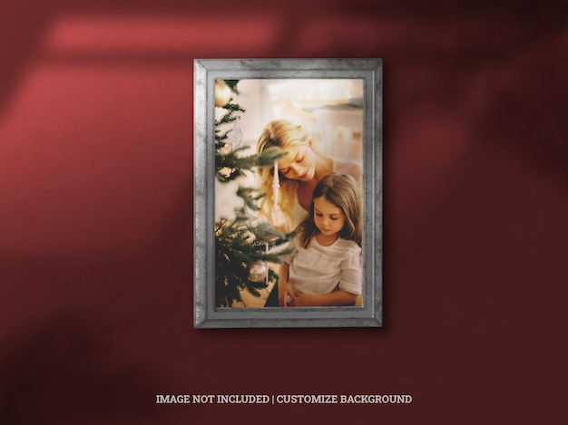 Christmas celebration classic gallery framing picture with drop shadow Premium Psd