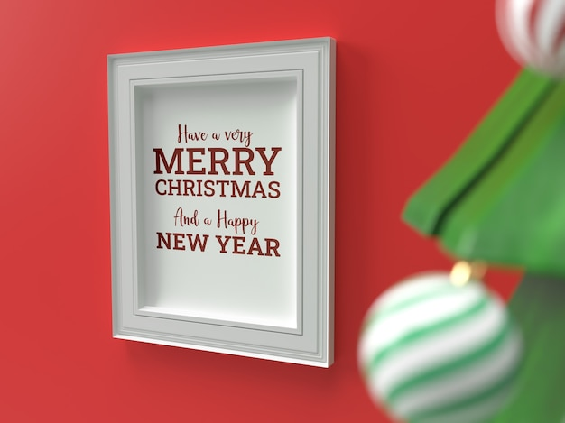 Christmas celebration wall framing drop shadow mockup Premium Psd