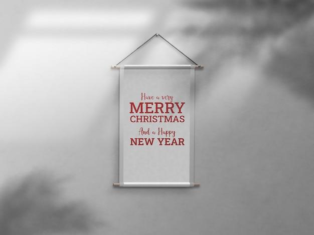 크리스마스 축하 벽 프레임 드롭 그림자 모형 프리미엄 PSD 파일