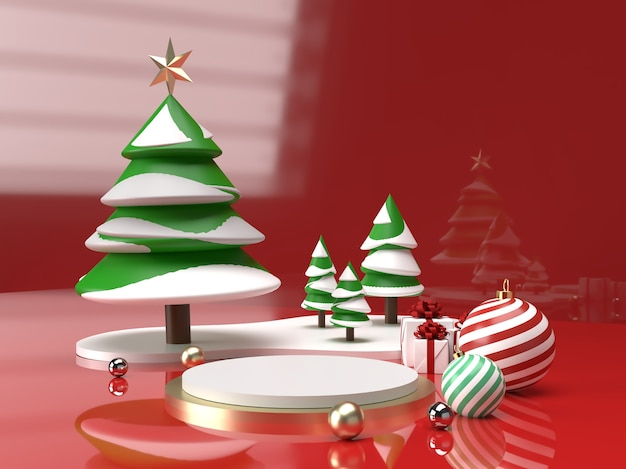 Christmas celebration with christmas tree, ball and gift 3d product stage scene Premium Psd