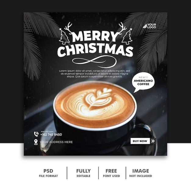 크리스마스 커피 소셜 미디어 포스트 배너 템플릿 음료 프리미엄 PSD 파일