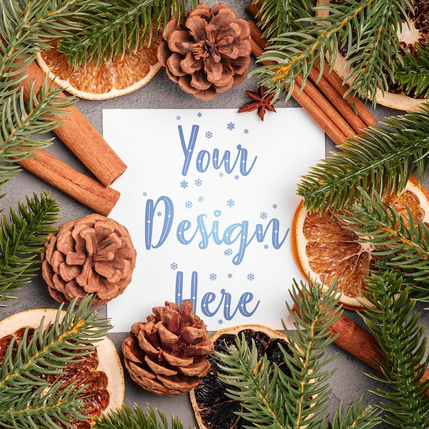 Christmas composition with cinnamon, anise, dried fruits, pine cones and fir needles Premium Psd