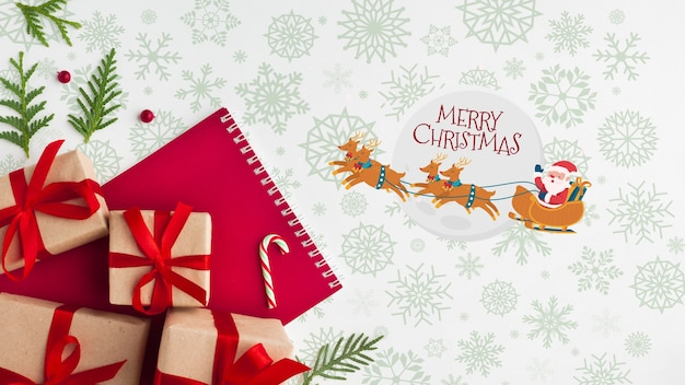 Christmas composition with gift boxes Free Psd