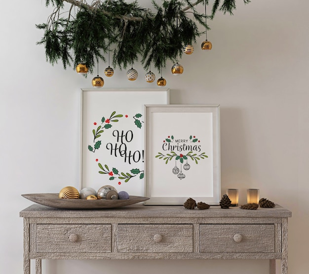 Christmas concept decoration with mockup poster frame on console table Premium Psd