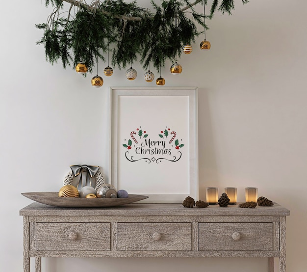 Christmas concept decoration with mockup rustic frame on console table Premium Psd