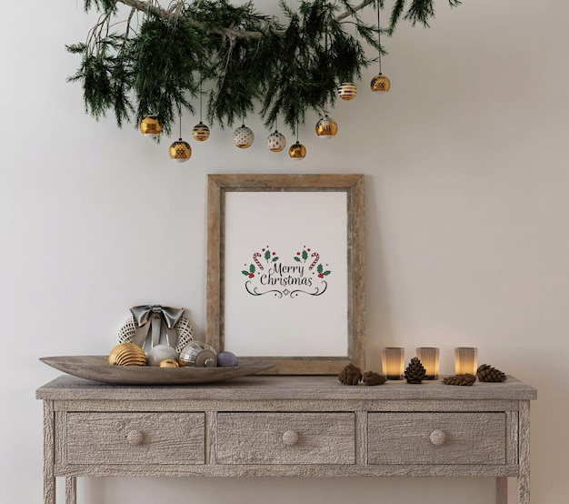 Christmas concept decoration with mockup rustic poster frame on console table Premium Psd