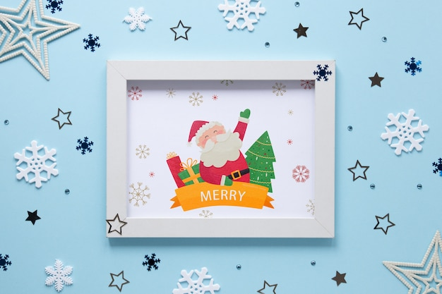 Christmas concept frame with santa claus Free Psd