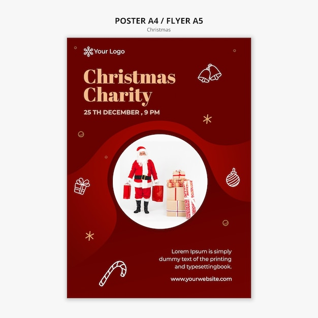 Christmas concept poster template Free Psd