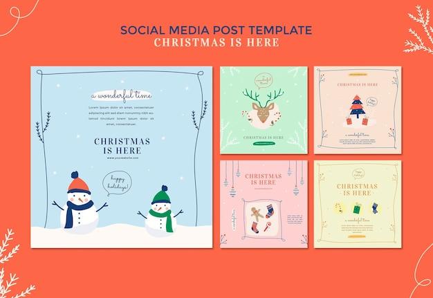 Рождественский шаблон сообщения в социальных сетях Premium Psd