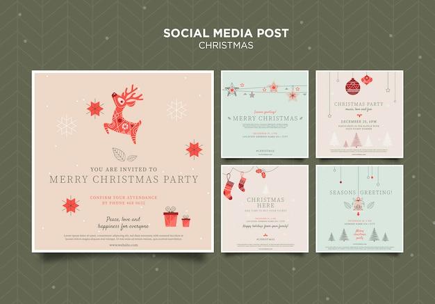 Рождественский шаблон сообщения в социальных сетях Бесплатные Psd