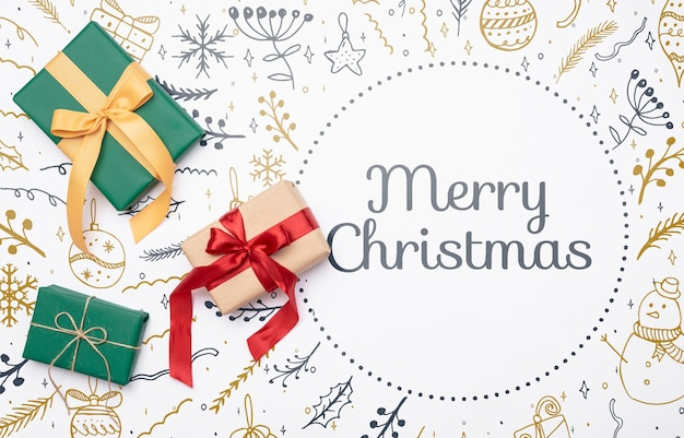 Christmas concept with colorful gifts Free Psd