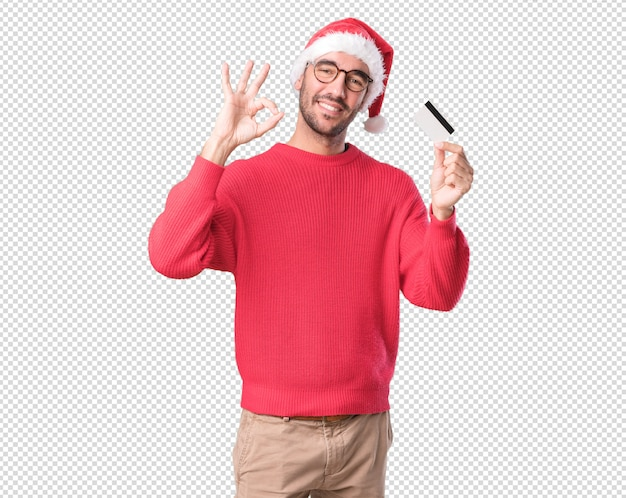 Christmas concepts - young man gesturing Premium Psd