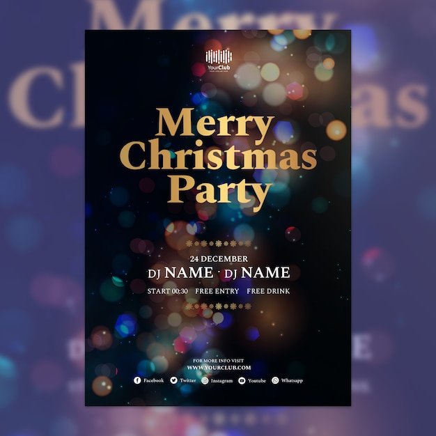 Christmas cover template Free Psd