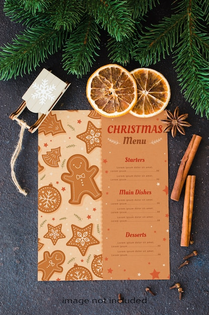 Christmas culinary background for menu or recipe. blank paper with spice and fir branches. Premium Psd