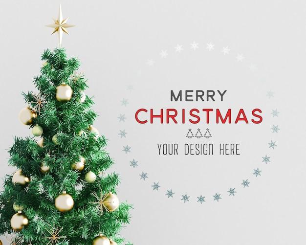 Christmas decoration with christmas tree and wallpaper mockup Premium Psd